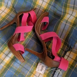 Pink Strappy Sandals Heels Size 5-1/2